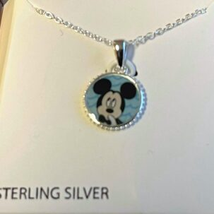 collier silver circle mickey 595